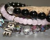 Love Stackable Pink, Czech Vitrail and Black Stretch Bead Bracelets