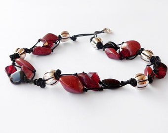 Statement dark red necklace handmade with dark red and black glass beads. ooak made in Italy.