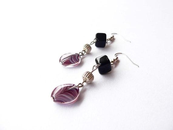 Purple earrings - purple and black glass beads