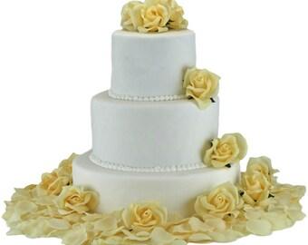 Yellow Silk Rose Cake Flowers