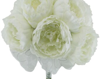 Ivory Silk Peony Hand Tie (12 Peonies) - Bridal Wedding Bouquet