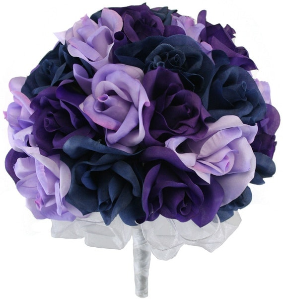 Navy blue lavender and purple silk rose hand tie 3 dozen Navy purple color