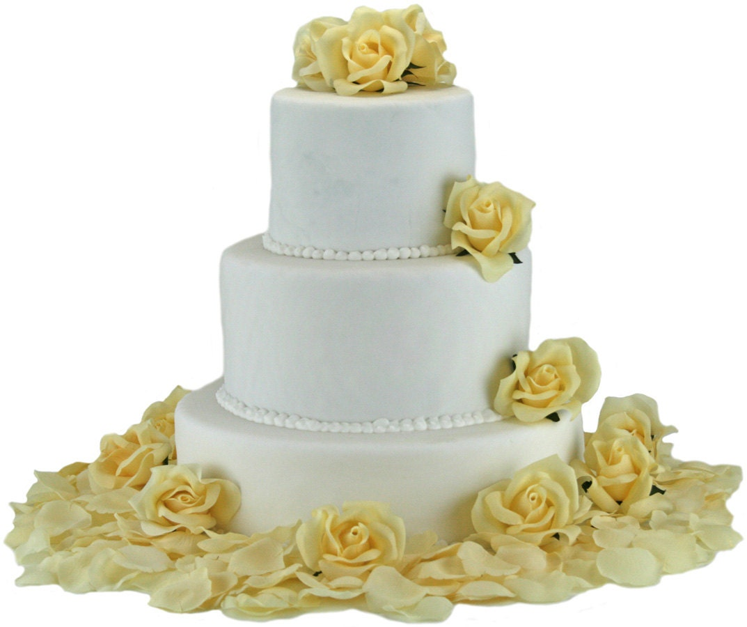 Yellow Silk Rose Cake Flowers