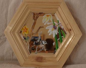 Original Hand Painted Bird On Bevelled Mirror - Framed OOAK by Artist CORINA HOGAN