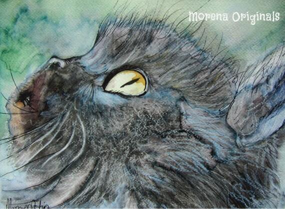 Poppy Beautiful Giclee Morena Artina Animals Black Cat Print