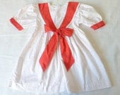 Polka dot sailor dress, 3T. Vintage nautical dress with red polka dots