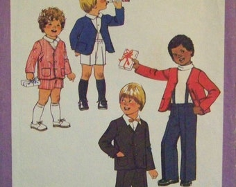 Vintage 1978 Simplicity 8842 Pattern for Child's Pants and Shorts with Detachable Suspenders and Lined Jacket in Size 4