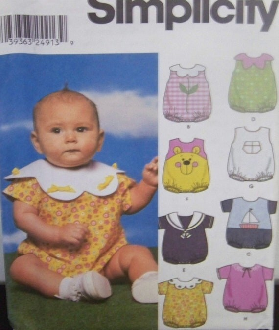 Simplicity 9719 Pattern for Babies Romper in Size A XS, S, M, L