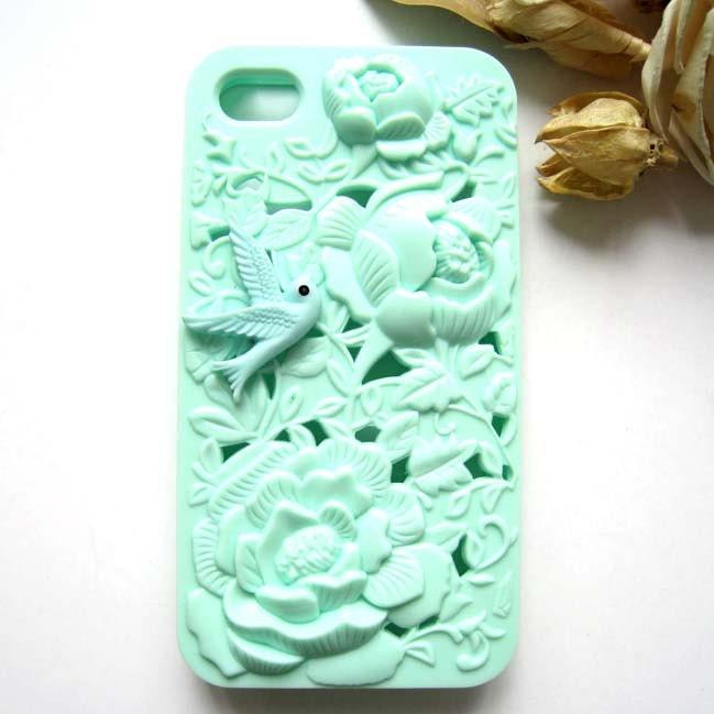 Cute Resin Bird Filigree Embossed Mint Rose iPhone 4S Hard Case by ZazaStory