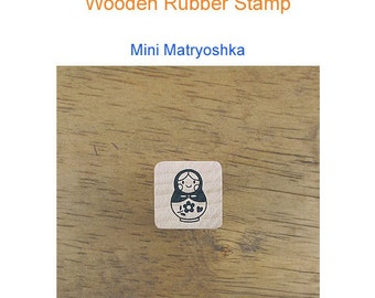 Wooden Rubber Stamp -Mini Matryoshka **