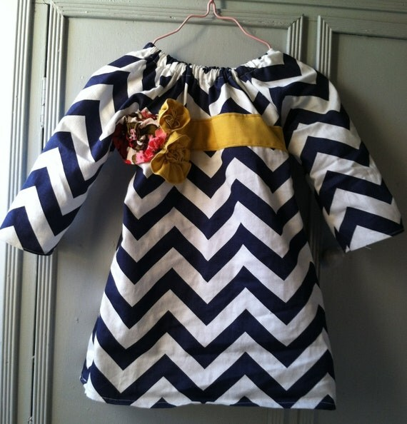 Custom 2T-5 Navy Chevron Dress with Yellow and Vintage Floral Embellishments