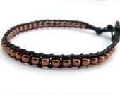 Antiqued Copper Wrap Bracelet Black Leather Copper Metallic Single Wrap