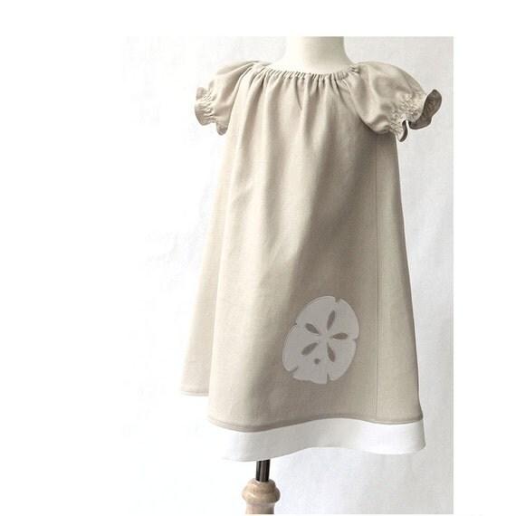 Beach Dress Peasant Dress Linen Khaki and White Sand dollar Applique Beach Dress Sizes 2 to 8
