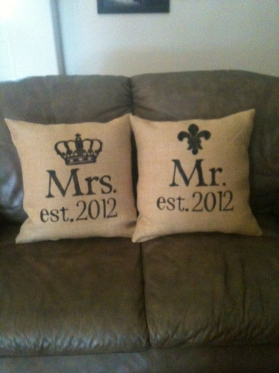 Personalized Mr And Mrs Burlap Pillow By Burlapheartstrings
