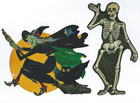 Vintage Halloween Dennison Flying Witch on Broom over Moon with Owl and Waving Skeleton with Cobwebs Die Cuts