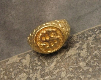 Double Dollar Sign Nugget Ring Vintage Size 11.5 H348