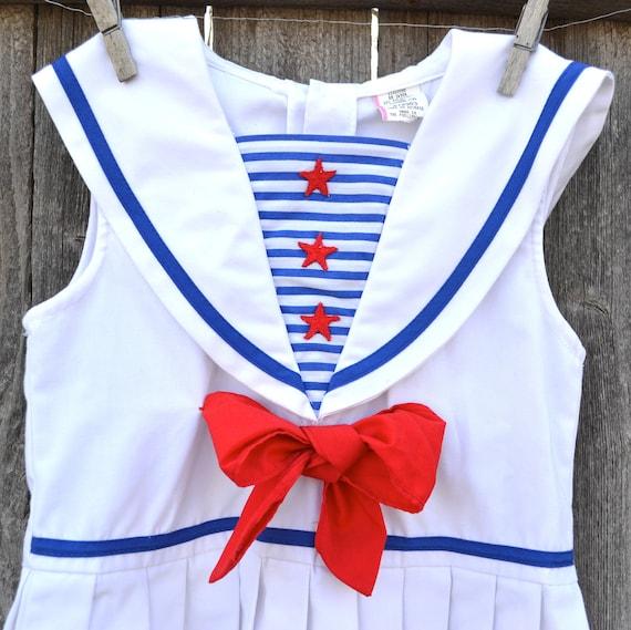 Vintage Girls Sailor Dress Size 2T to 3T