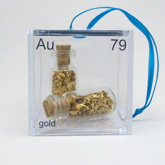 Gold - Periodic Table of Elements Cube Ornament