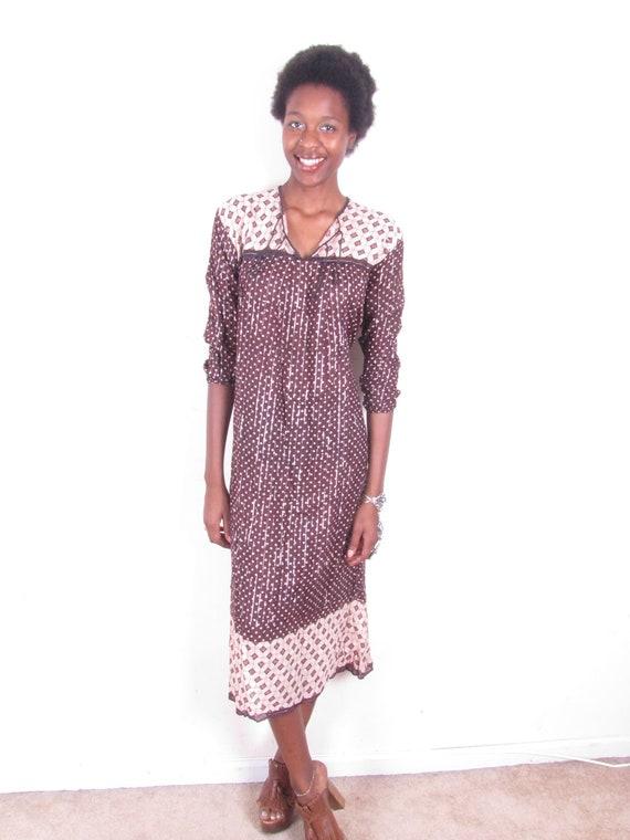 Vintage Hippie India Gauze Gypsy Hippie Metallic Silver Thread Sheer Cotton Bohemian Dress