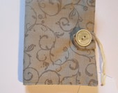 Needle case Made in floral gray  fabric and felt needle book inside.