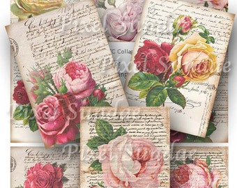 Vintage Roses and French Letters ATC Collage Sheet, INSTANT Digital Download