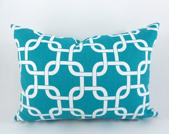 Lumbar Pillow Cover ANY SIZE Decorative Pillow Cover Turquoise Pillow Premier Prints Gotcha True Turquoise