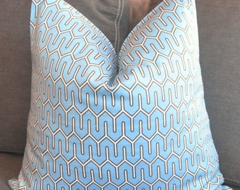 Pillow Cover, Decorative Pillow, Throw Pillow, Toss Pillow,  Blue Lattice, Blue Fretwork, Blue Trellis, Home Furnishing