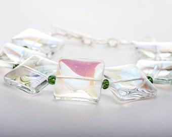 Geometric Beaded Bracelet, Clear Glass Bangle Bracelet, Green Accents, Adjustable