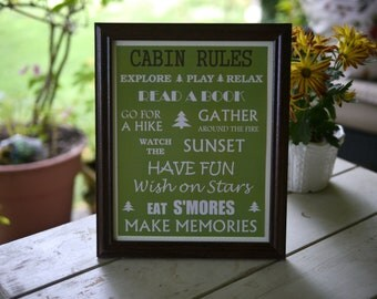 Cabin Rules Framed Sign