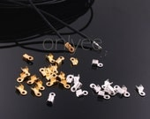 50pcs-Cord Tips, Iron, Gold,Silver 6mm long, 3mm wide, 2mm thick, hole: 1mm(K294)
