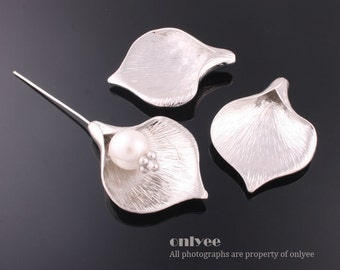 20pcs-32mmX24mmLarge-Size Rhodium plated over Brass  Wide Calla Bead Cap(K505S)