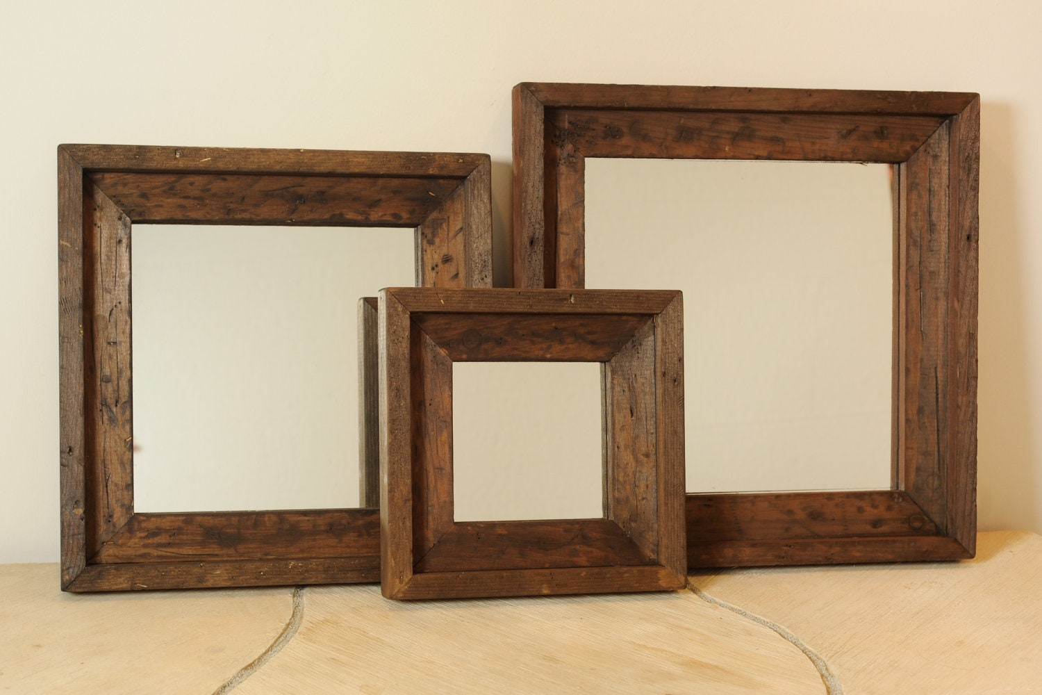 3 piece distressed wood mirror set by englertandenglert on etsy. Black Bedroom Furniture Sets. Home Design Ideas