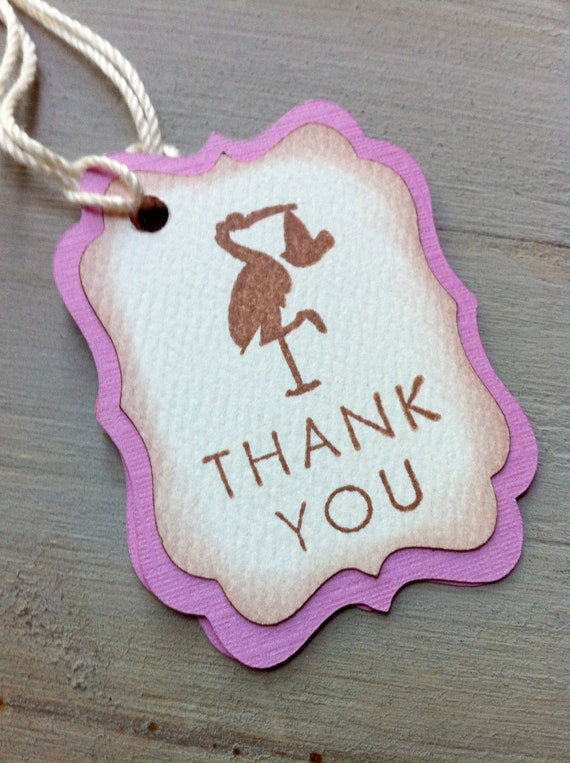 pink vintage baby shower thank you favor tags