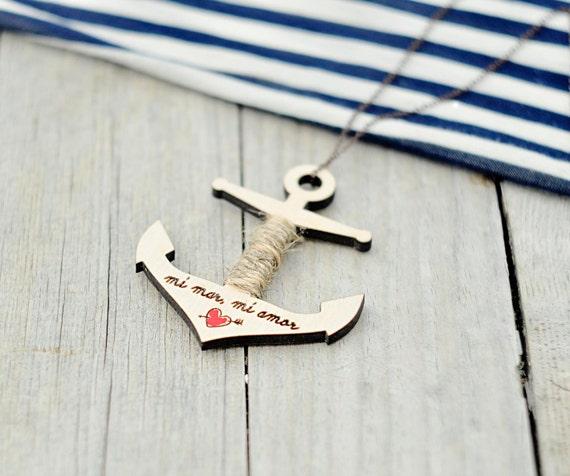 "Wood Laser cut Pendant  Anchor with the inscription ""Mi mar, mi amor"""