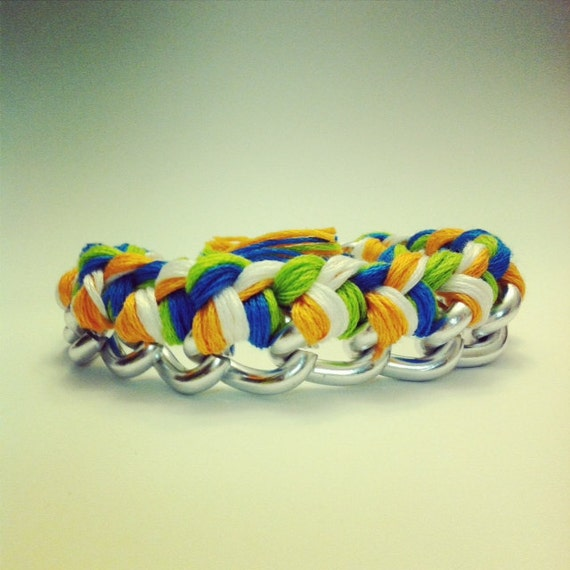 Chain Bracelet in silver orange green and electric blue colors embroidery floss.