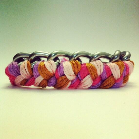 Chain Bracelet in silver chain, braided chain bracelet, woven chain bracelet, silver chain bracelet, silver bangle, pastel bracelet