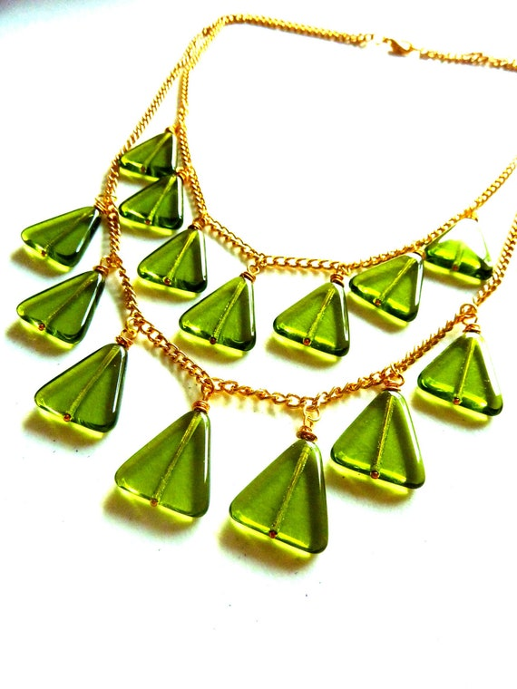 Green Triangle Glass Multiple Strand Bib Necklace