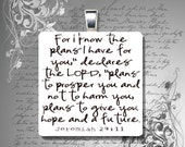 "GLASS tile pendant necklace Christian JEREMIAH 29 11 bible quote verse 7/8"" mens womens teen"
