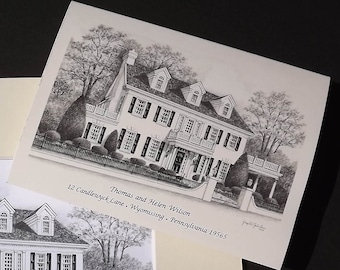 Real Estate Gift Custom Home Portrait-5x7 Graphite Pencil and Note Card Combo Original Your My Home Sketch Drawing  First Home Closing Gifts