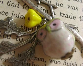 SALE Antiqued brass branch and porceline owl charm pendant woodland necklace