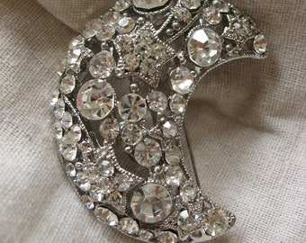 Romantic moon wedding bridal rhinestone crystals brooch