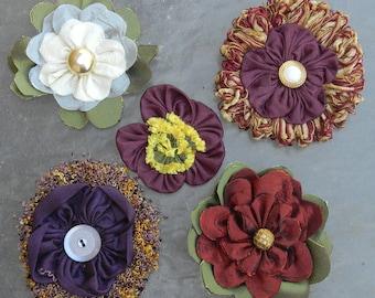 5 Handmade FABRIC FLOWERS bridal bouquet, pomander, wedding decor, corsage, sash, hairclip, hairpin, belt, purse