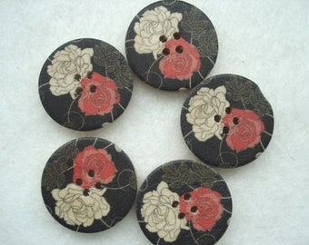 30mm Wooden Buttons, Black Wood Buttons, Pack of 5 Red Rose Buttons, W3008