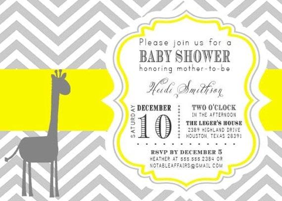 printable gray and yellow chevron giraffe baby shower invitation