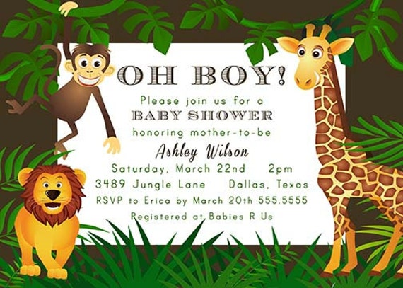 items similar to jungle theme zoo animal baby shower invitation, Baby shower invitation