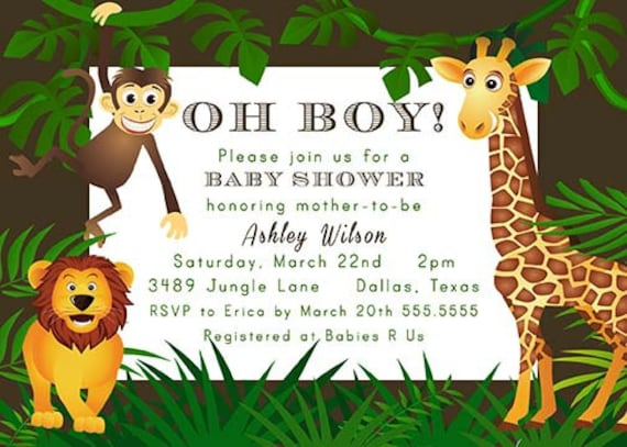 printable jungle theme zoo animal baby shower invitation