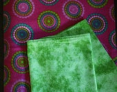 Flannel Receiving Blanket with Burp Cloths (2) ; 41 x 36 Blanket ; Pink Blanket ; Green Blanket ; Baby Shower Gift ; Blanket Set ; Mom Gift