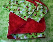 Flannel Receiving Blanket with Burp Cloths (2) ; Blanket Cloth Set ; Doghouse Blanket ; Red Baby Blanket ; Baby Shower Gift ; Mom Gift