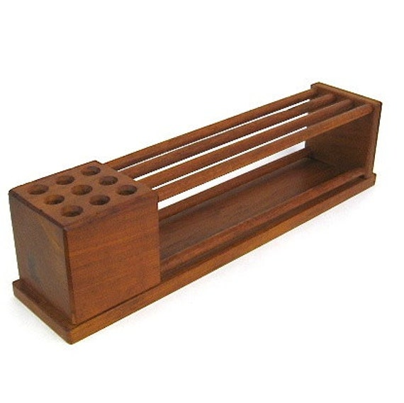 Vintage teak wood desk organizer danish modern - Wood desk organizer ...