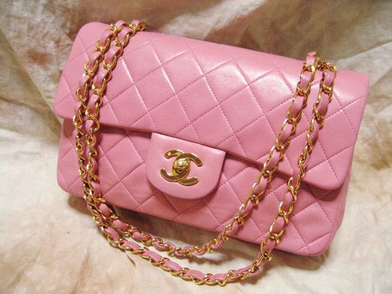 "CHANEL / Super rare / Vintage "" Classic flap - Quilted / Matelasse"" Double chain Shoulder Bag / Pink Lambskin / 100% authentic"